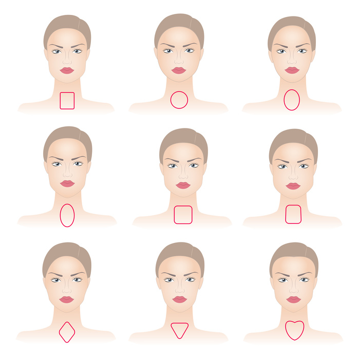 Set of woman face shapes on abstract background